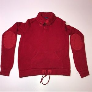 Ralph Lauren Red Sweater Toggle Closure W/ Pockets